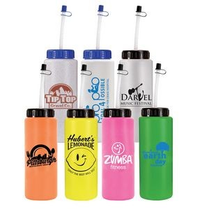 32 Oz. Sports Bottle w/ Flexible Straw (Spot Color)
