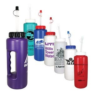 32 Oz. Grip Bottle w/ Flexible Straw (Spot Color)