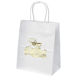 Mini White Shopper Bag (Foil)