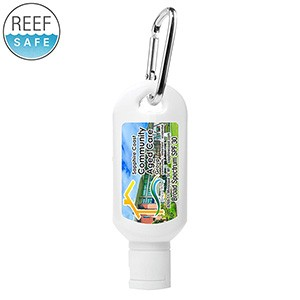 """Sunny Day L"" 2.0 Oz. Broad Spectrum SPF 30 Sunscreen Lotion w/Carabiner Tottle - (Full Color)"