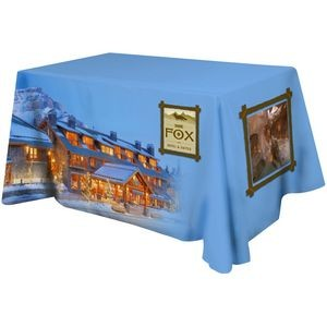 Polyester 3 Sided Flat Table Cover w/ All Over Full Color (Fits 4' Table)