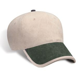 Distressed Washed Brushed Canvas Cap w/Lined Bill