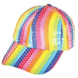 Rainbow Sequin Baseball Cap
